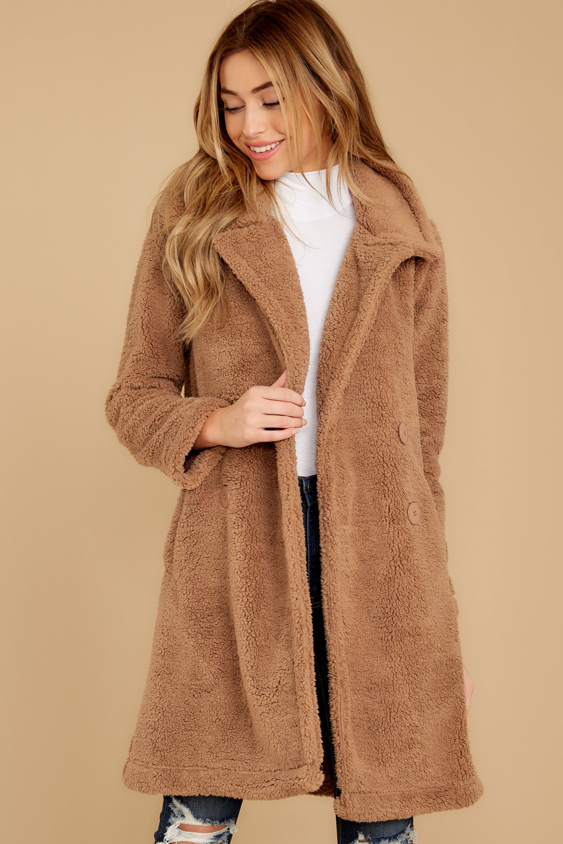 7 The Toffee Cozy Sherpa Coat at reddressboutique.com