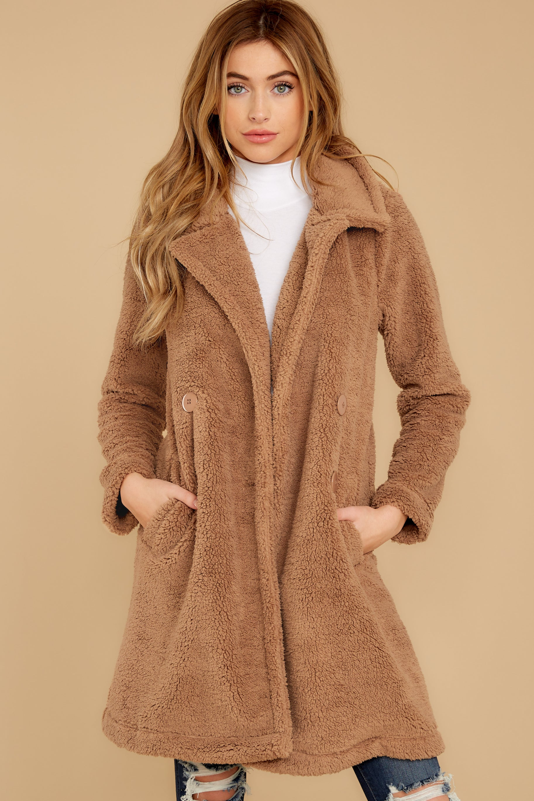 8 The Toffee Cozy Sherpa Coat at reddressboutique.com