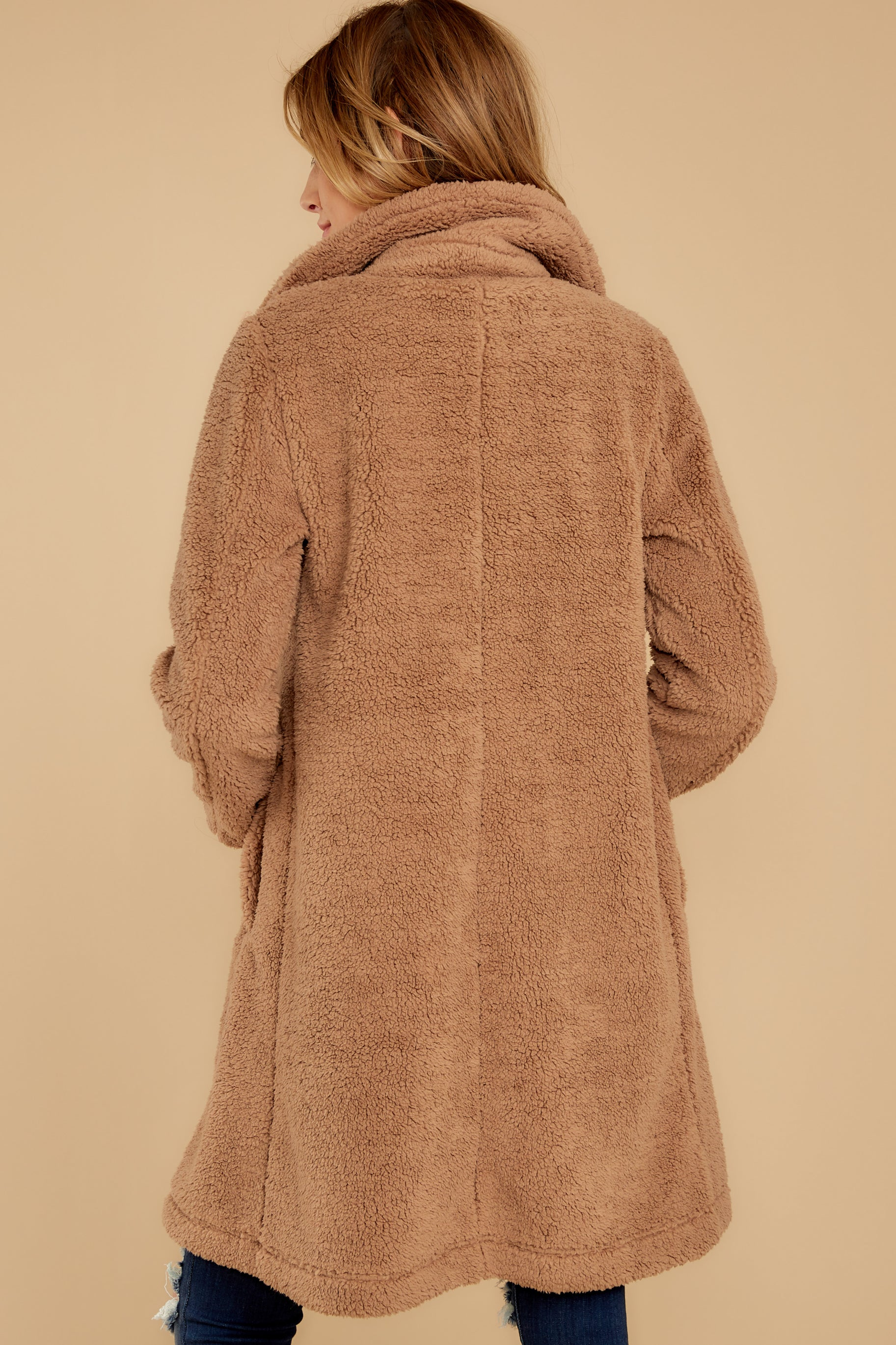 9 The Toffee Cozy Sherpa Coat at reddressboutique.com