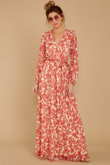 1 Love Talk Coral Print Maxi Dress at reddressboutique.com