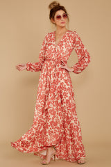 2 Love Talk Coral Print Maxi Dress at reddressboutique.com