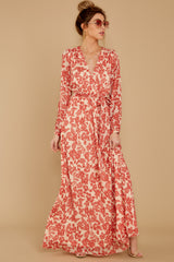 3 Love Talk Coral Print Maxi Dress at reddressboutique.com
