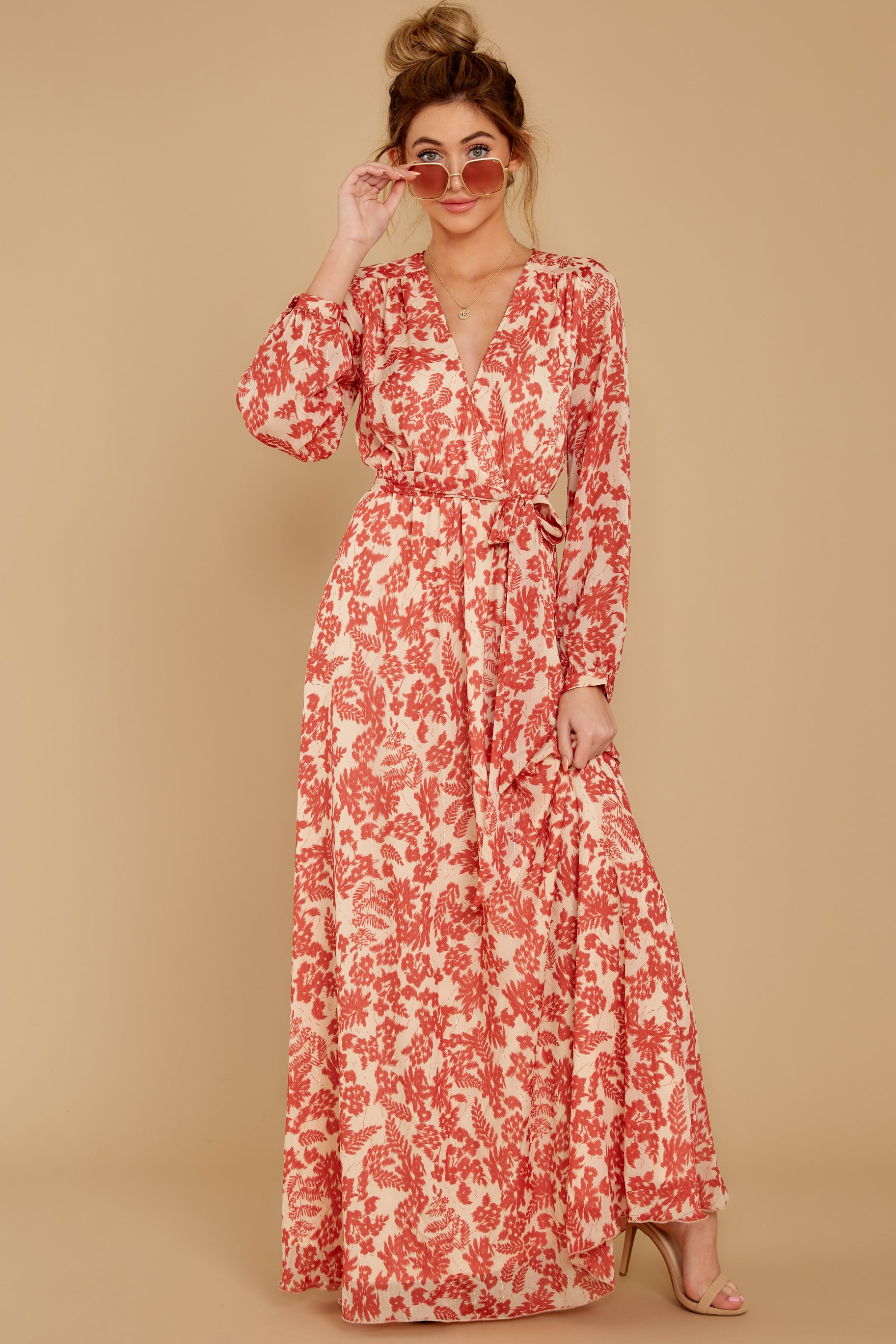 4 Love Talk Coral Print Maxi Dress at reddressboutique.com