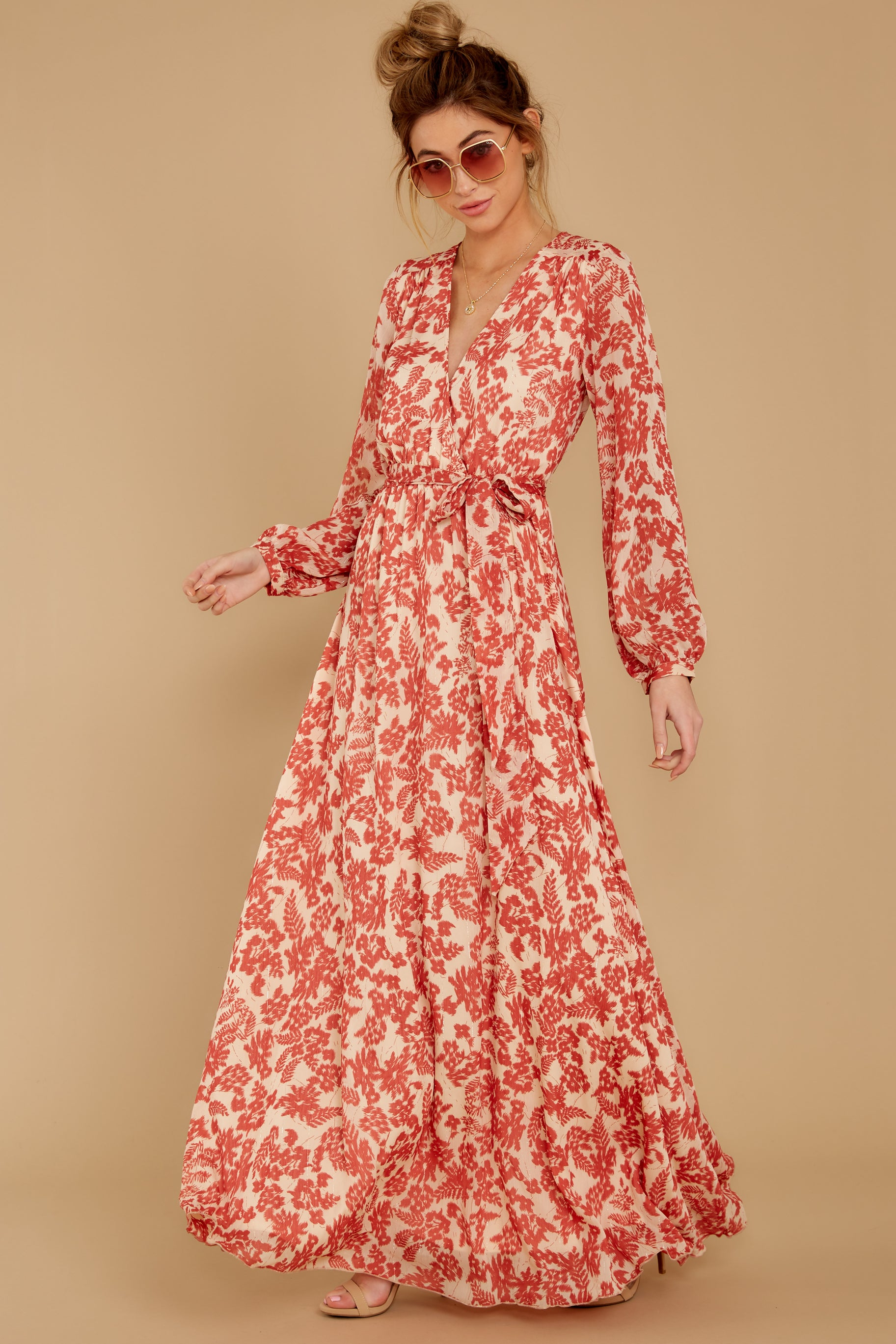 5 Love Talk Coral Print Maxi Dress at reddressboutique.com