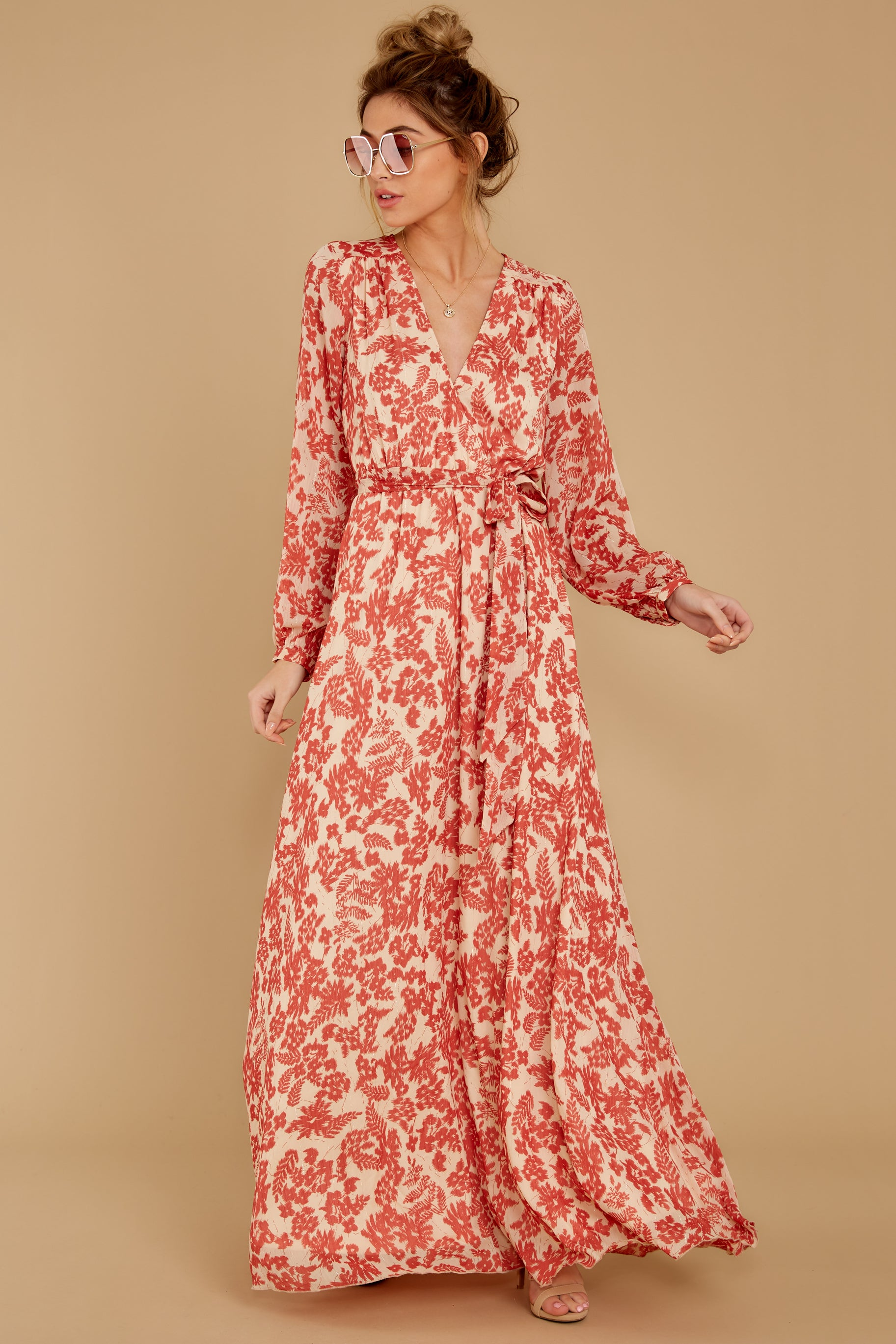 6 Love Talk Coral Print Maxi Dress at reddressboutique.com
