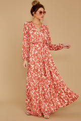 7 Love Talk Coral Print Maxi Dress at reddressboutique.com
