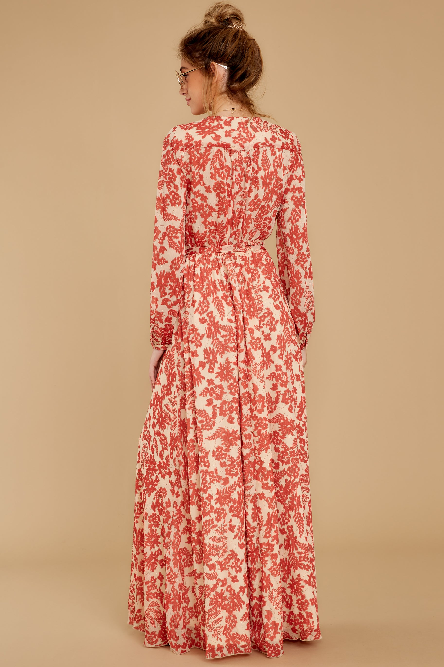 8 Love Talk Coral Print Maxi Dress at reddressboutique.com