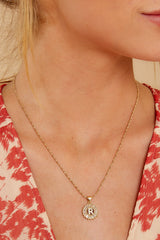 37 Before All Else R Gold initial Necklace at reddressboutique.com