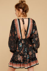 Influence The Night Black Floral Print Dress