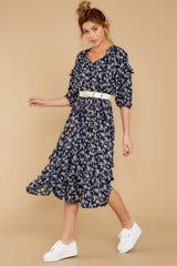 1 Make It Graceful Navy Floral Print Dress at reddressboutique.com