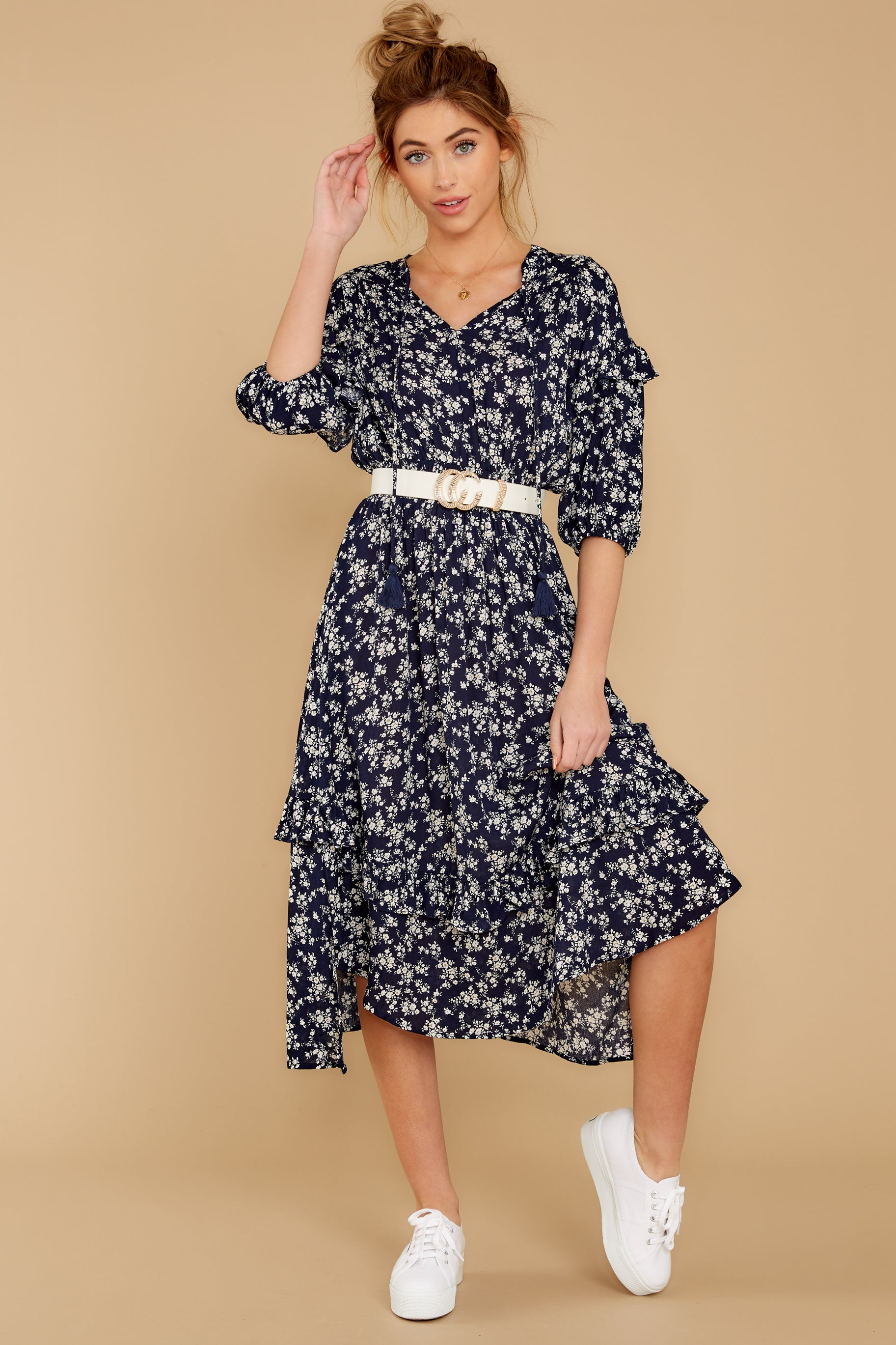 3 Make It Graceful Navy Floral Print Dress at reddressboutique.com