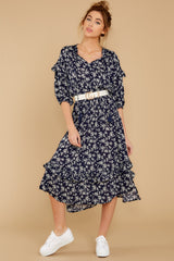 6 Make It Graceful Navy Floral Print Dress at reddressboutique.com