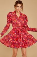 V-neck Long Sleeves Collared Bubble Dress Floral Print Drawstring Gathered Belted Polyester Dress With Ruffles