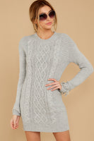 Ribbed Sweater Collared Long Sleeves Dress