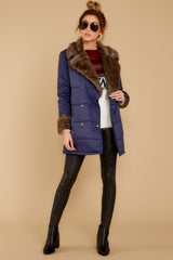 1 Polar Plunge Navy Puffer Coat at reddressboutique.com