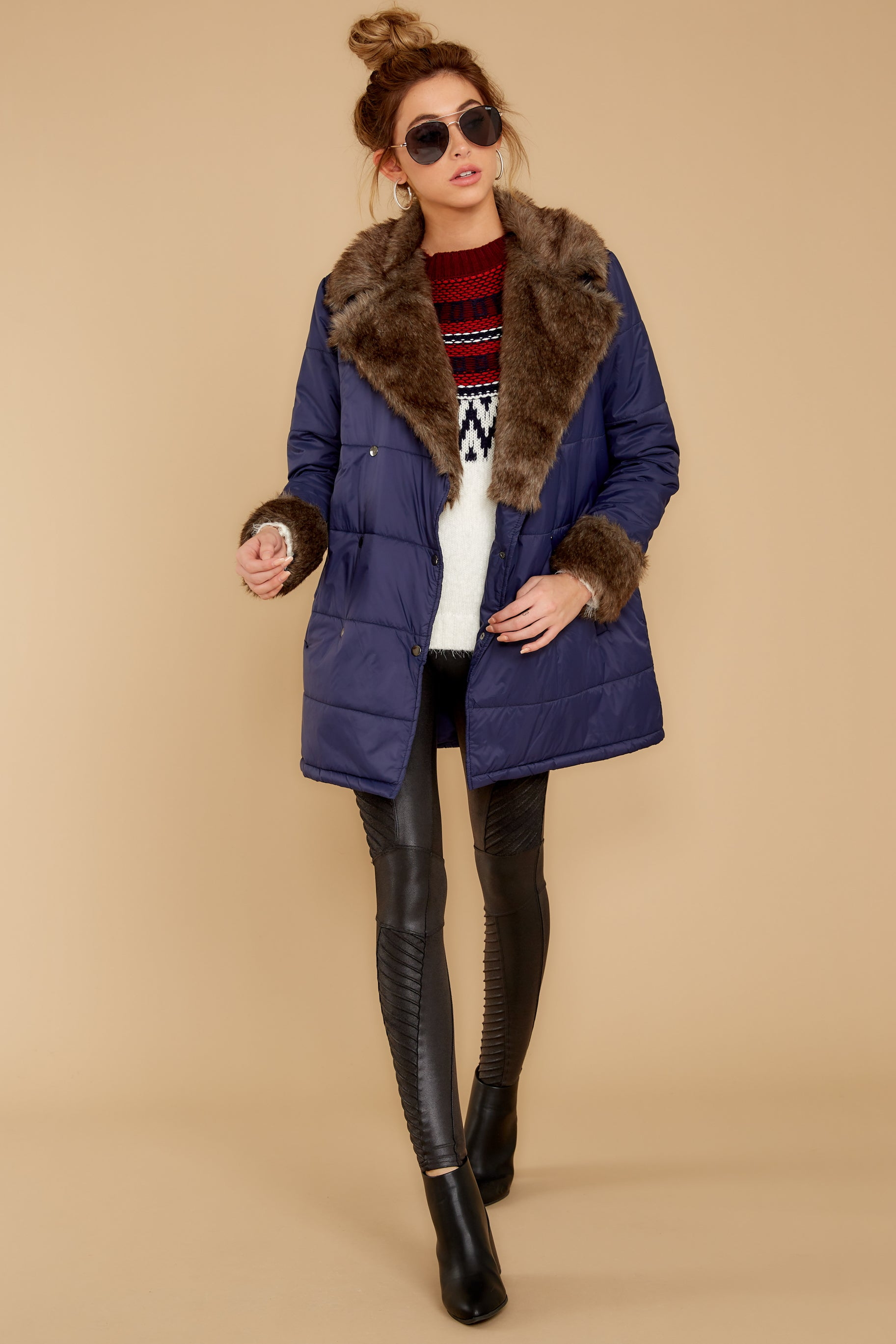 2 Polar Plunge Navy Puffer Coat at reddressboutique.com
