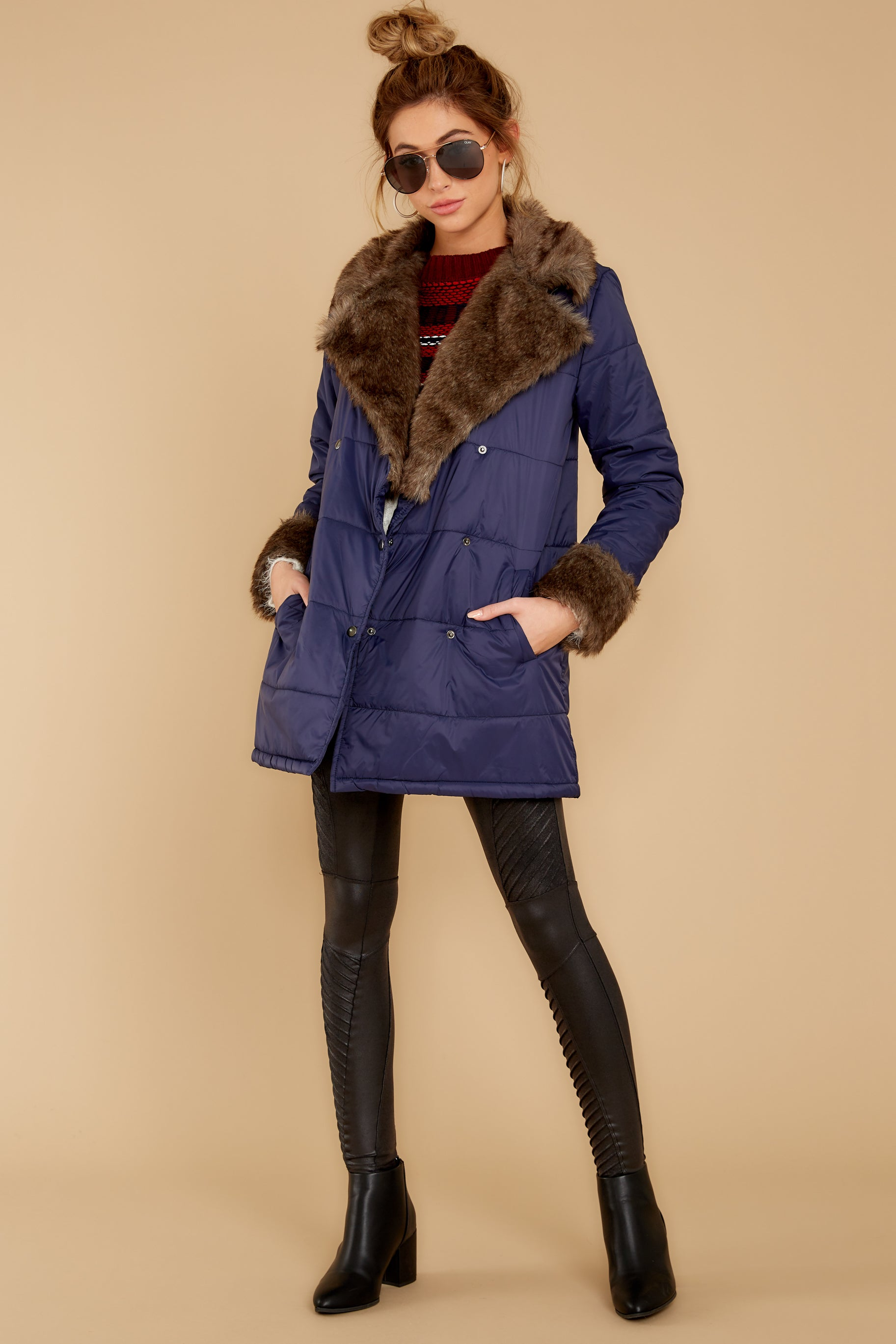 7 Polar Plunge Navy Puffer Coat at reddressboutique.com