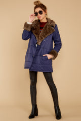 3 Polar Plunge Navy Puffer Coat at reddressboutique.com