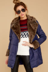 6 Polar Plunge Navy Puffer Coat at reddressboutique.com