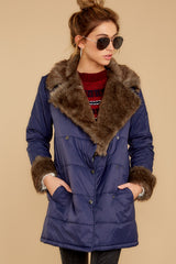 4 Polar Plunge Navy Puffer Coat at reddressboutique.com
