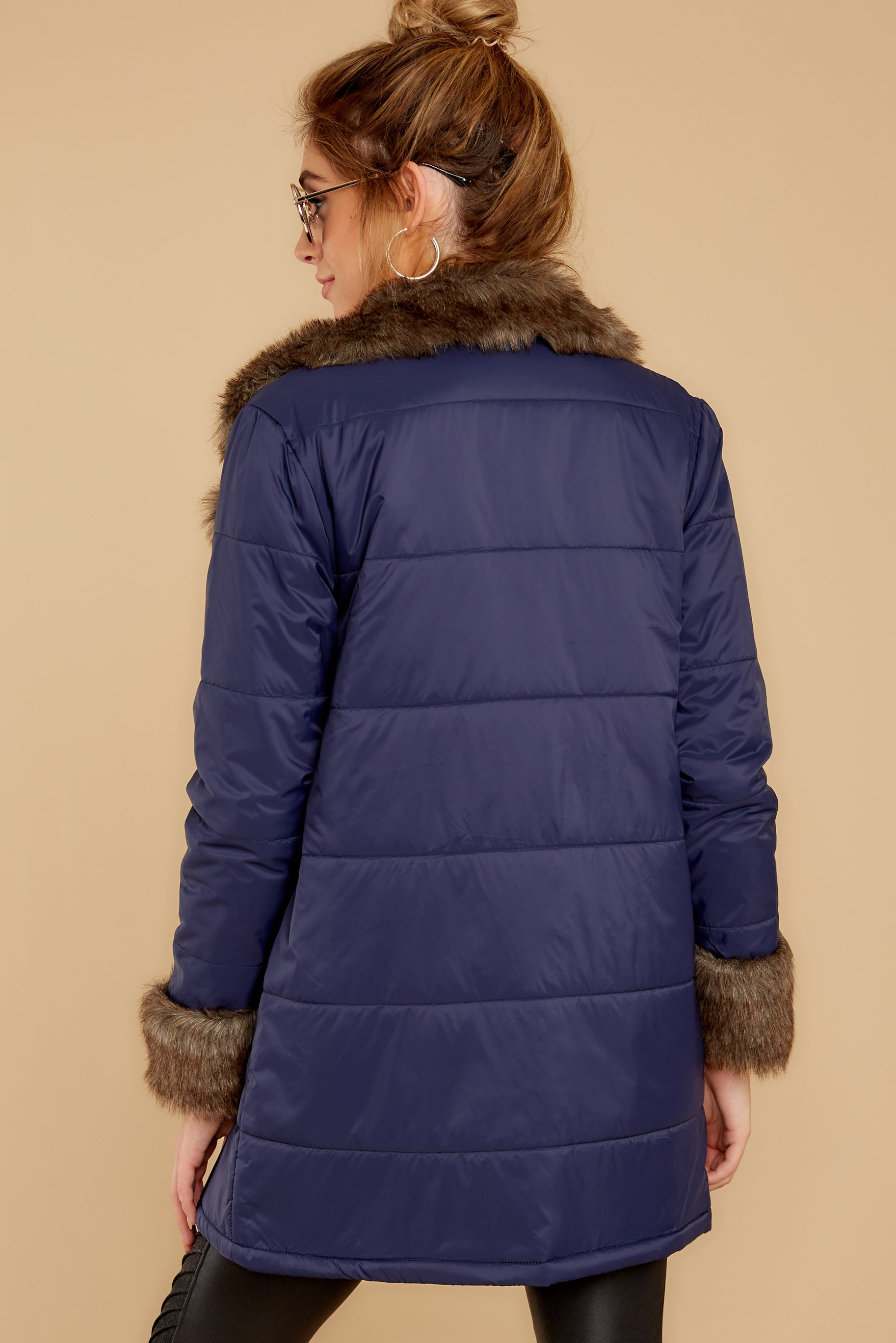8 Polar Plunge Navy Puffer Coat at reddressboutique.com