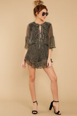3 Making Distractions Gold Romper at reddressboutique.com