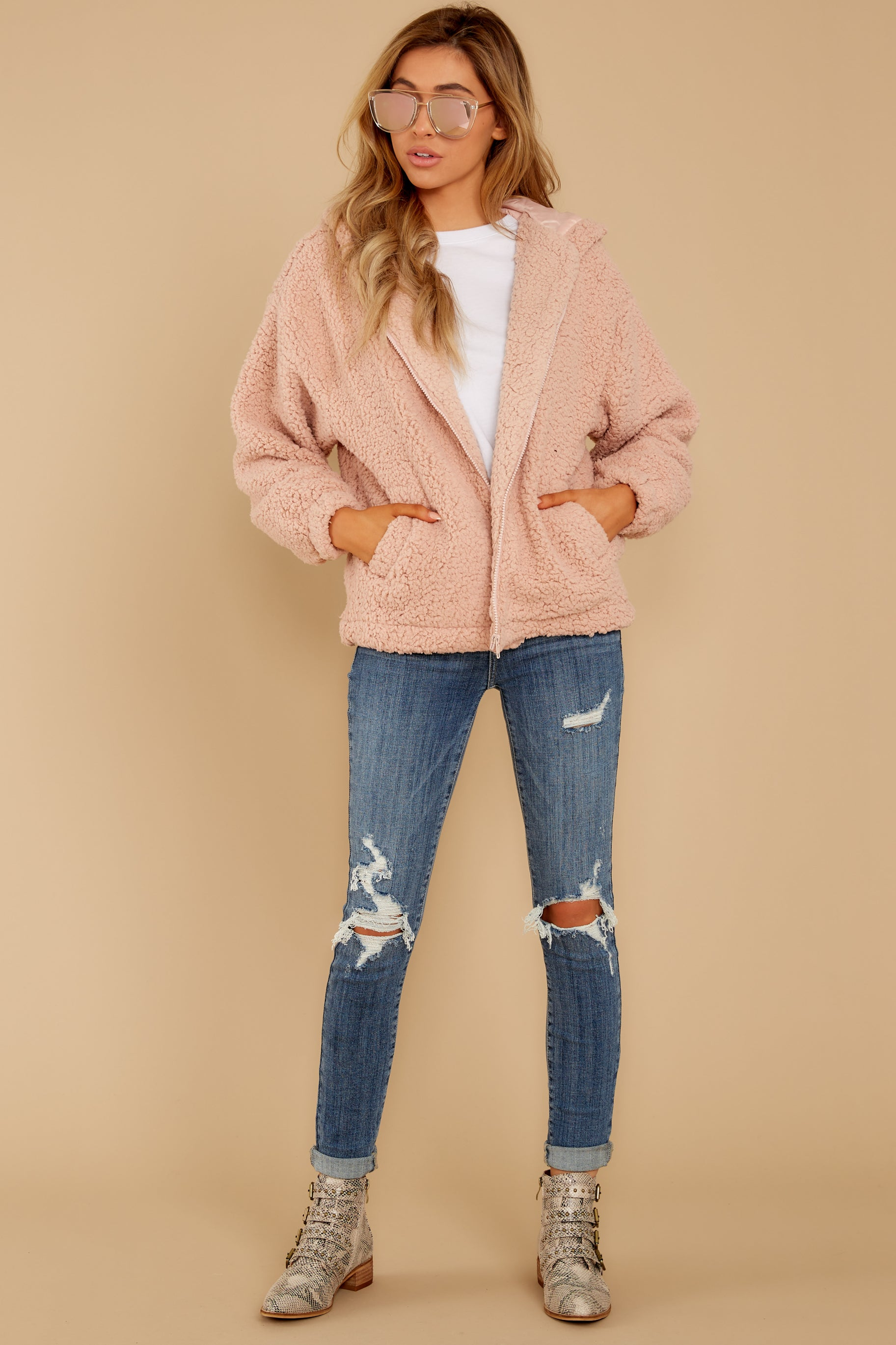 3 Warm Regards Blush Sherpa Jacket at reddressboutique.com