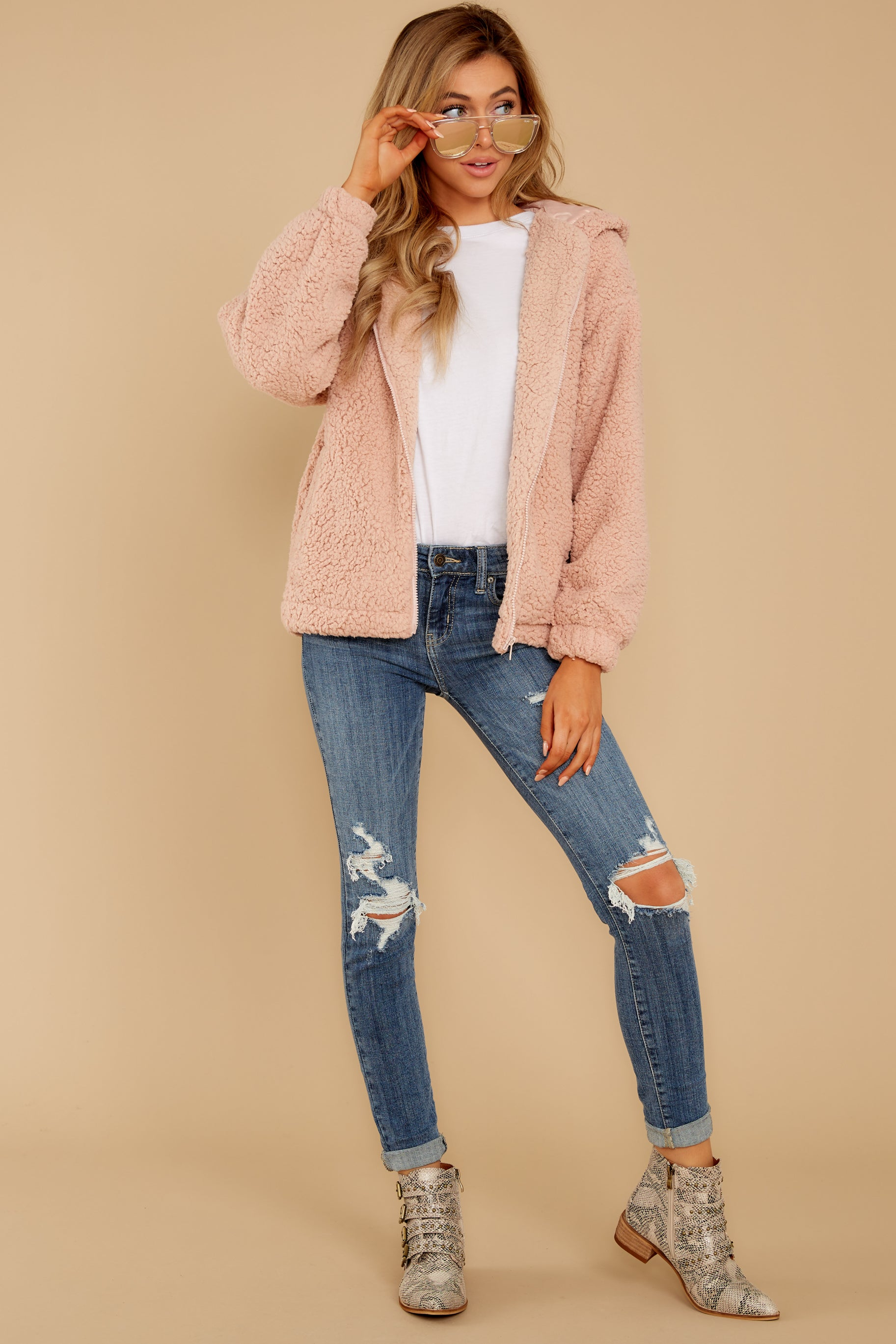 2 Warm Regards Blush Sherpa Jacket at reddressboutique.com