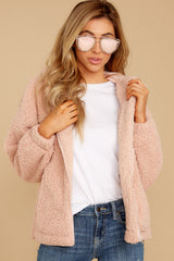 6 Warm Regards Blush Sherpa Jacket at reddressboutique.com