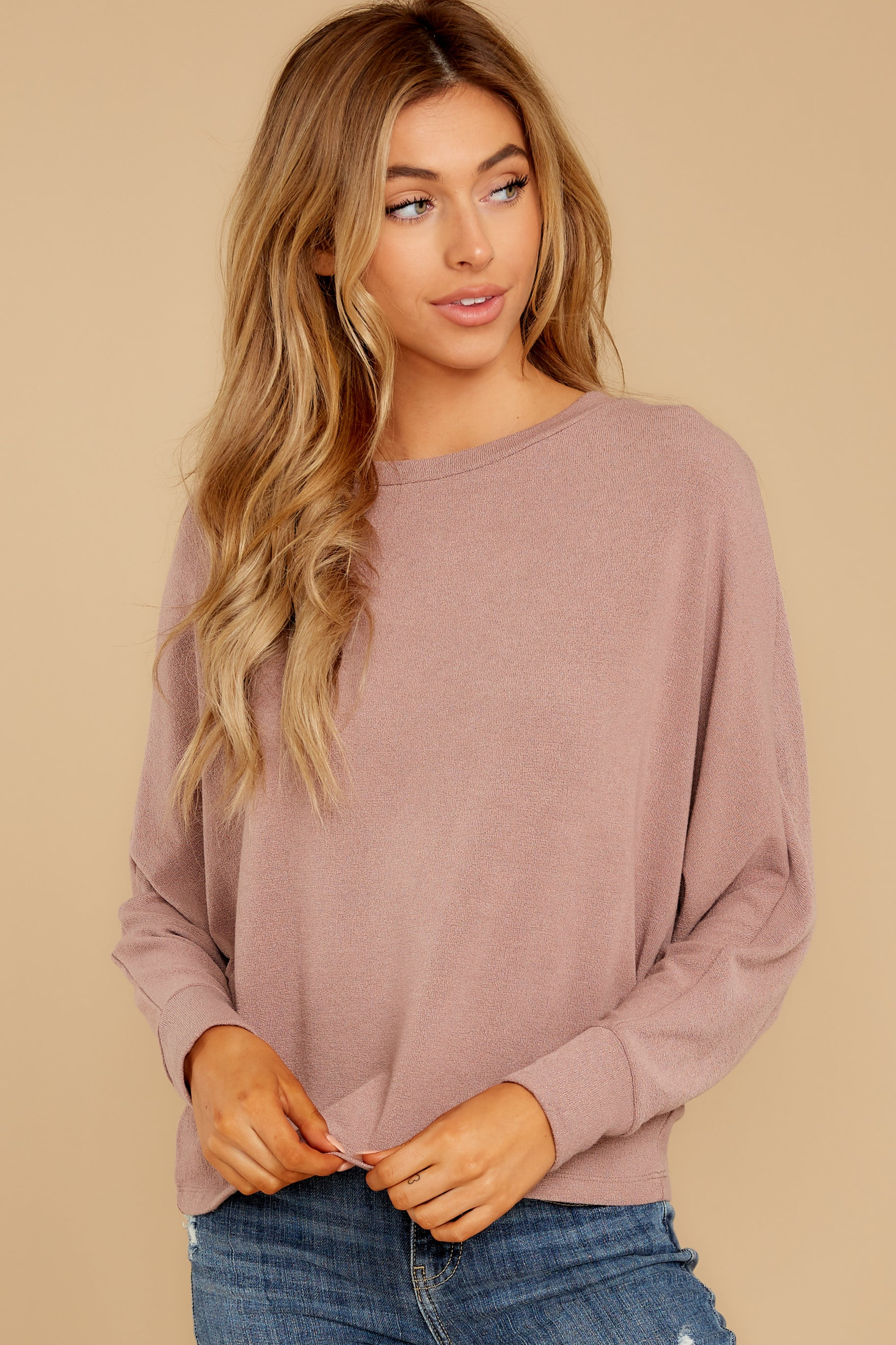 4 Feeling Casual Mauve Top at reddressboutique.com