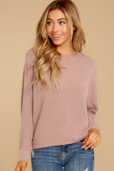 6 Feeling Casual Mauve Top at reddressboutique.com