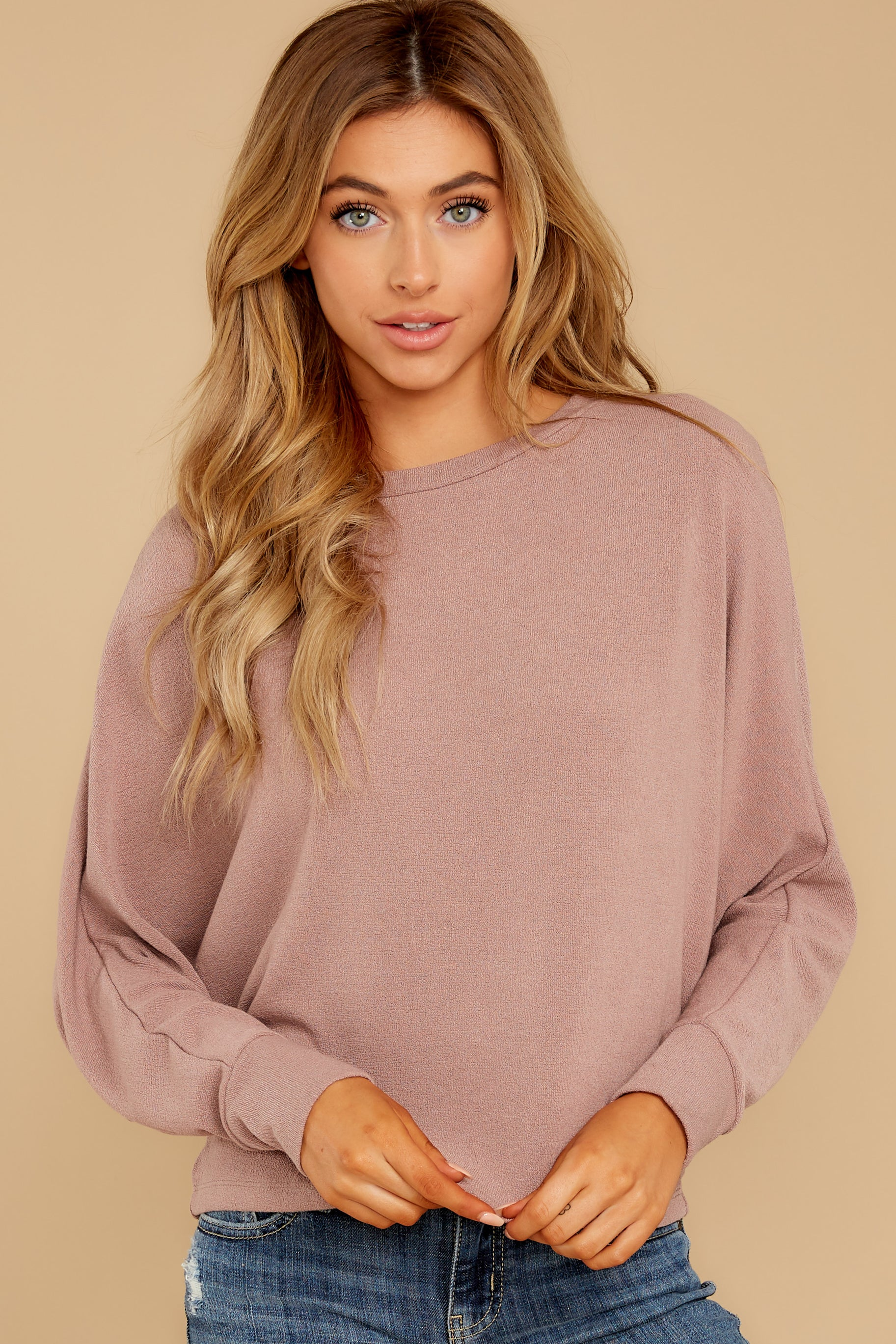 5 Feeling Casual Mauve Top at reddressboutique.com