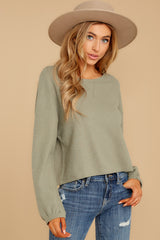 5 Slow Goings Light Sage Top at reddressboutique.com