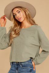 6 Slow Goings Light Sage Top at reddressboutique.com
