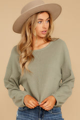 7 Slow Goings Light Sage Top at reddressboutique.com