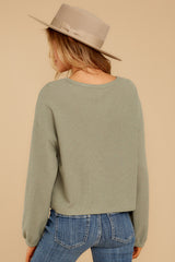 8 Slow Goings Light Sage Top at reddressboutique.com
