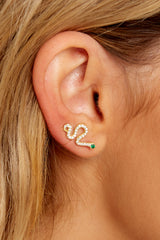 1 Come Slither Gold Earrings at reddressboutique.com