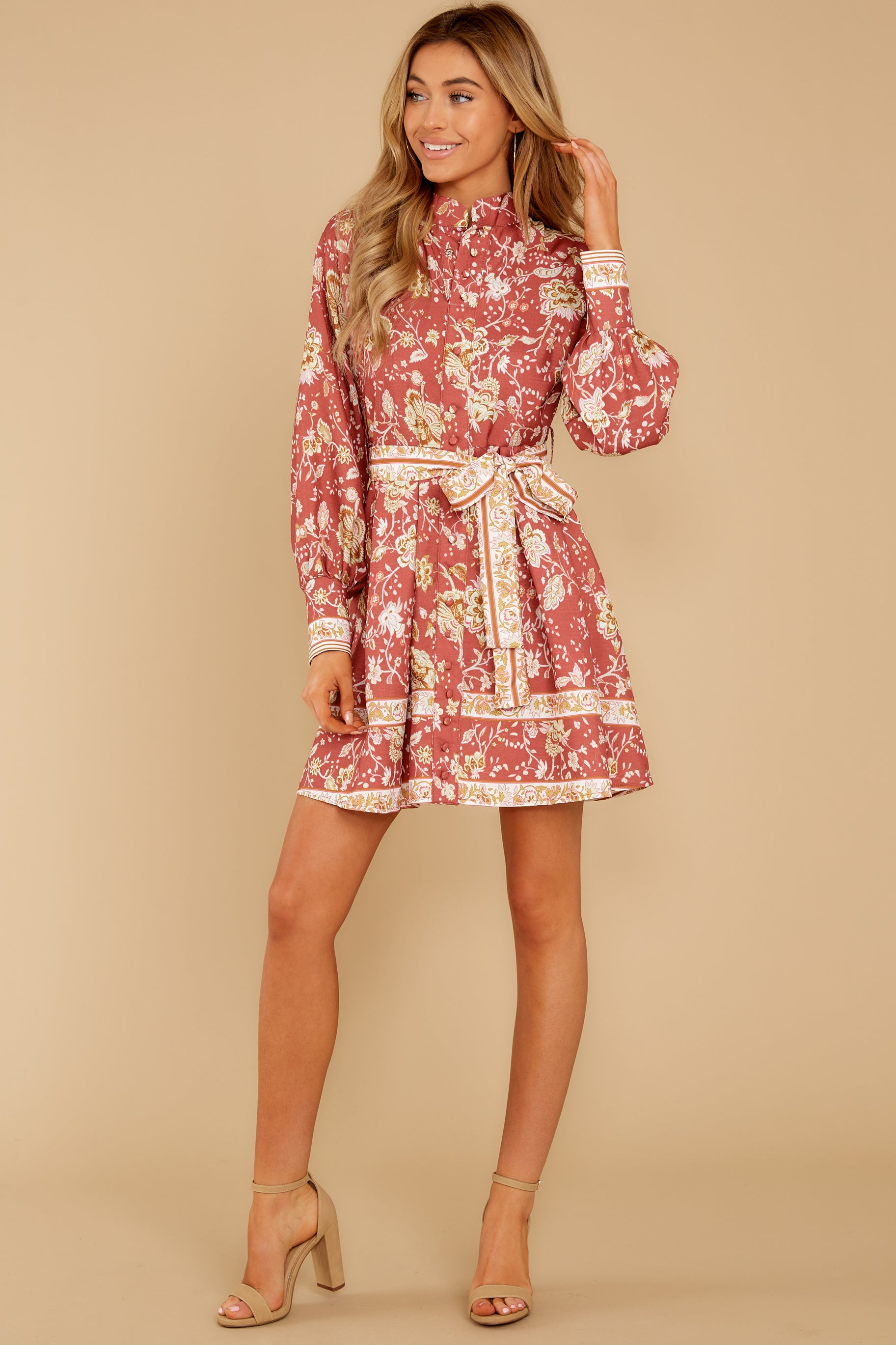 4 Certain Romance Rose Pink Floral Print Dress at reddressboutique.com