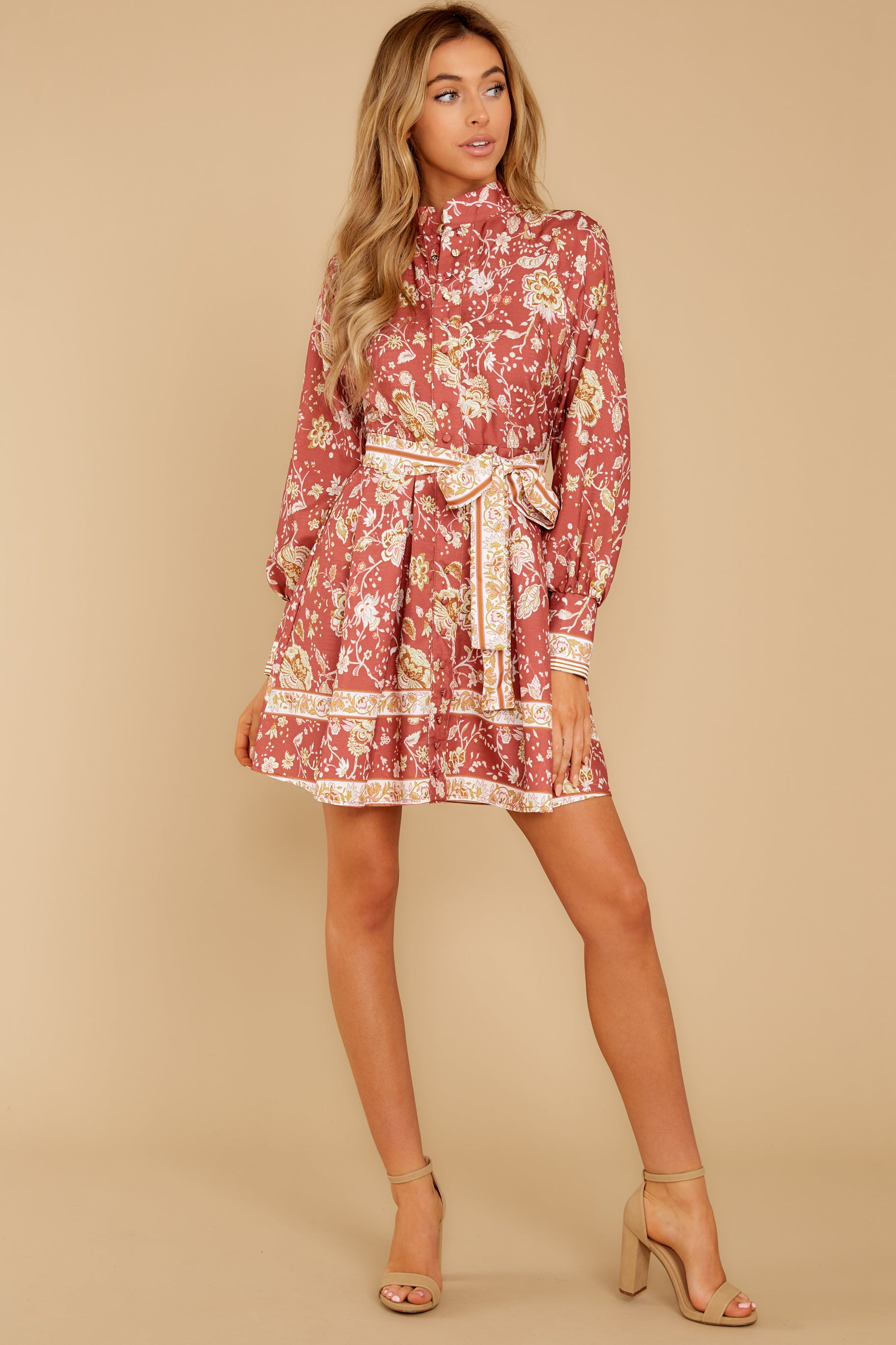 5 Certain Romance Rose Pink Floral Print Dress at reddressboutique.com