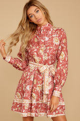 6 Certain Romance Rose Pink Floral Print Dress at reddressboutique.com