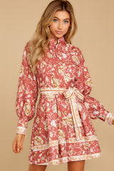7 Certain Romance Rose Pink Floral Print Dress at reddressboutique.com