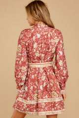 9 Certain Romance Rose Pink Floral Print Dress at reddressboutique.com