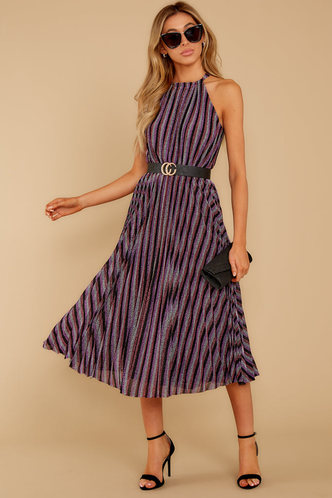 1 Don't Stop The Party Purple Multi Midi Dress at reddressboutique.com