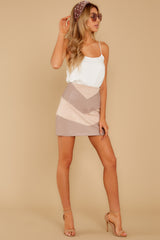 6 For The Gram Taupe Vegan Leather Skirt at reddressboutique.com