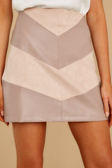 1 For The Gram Taupe Vegan Leather Skirt at reddressboutique.com