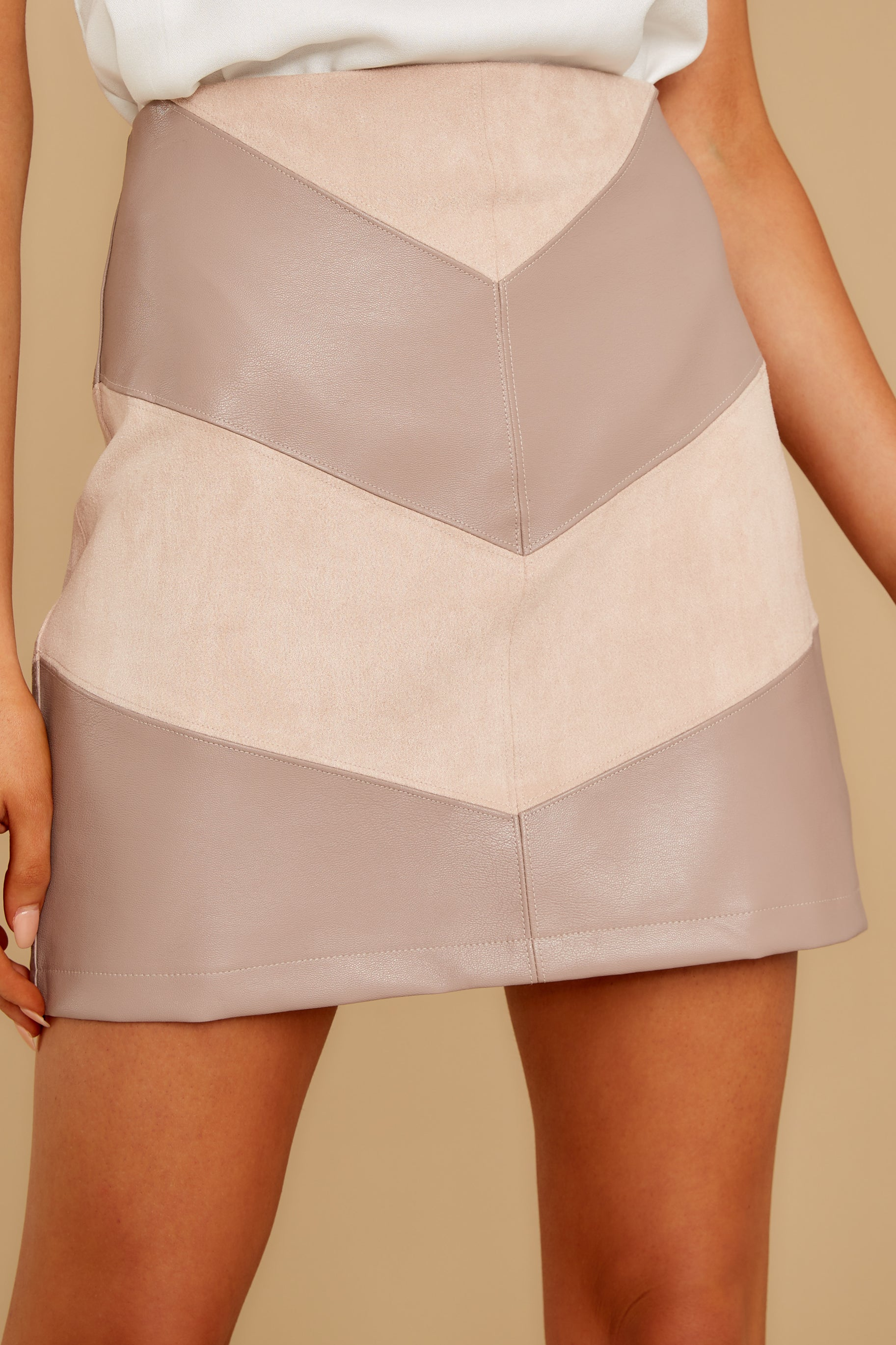 2 For The Gram Taupe Vegan Leather Skirt at reddressboutique.com