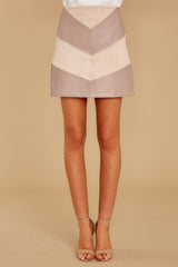 3 For The Gram Taupe Vegan Leather Skirt at reddressboutique.com