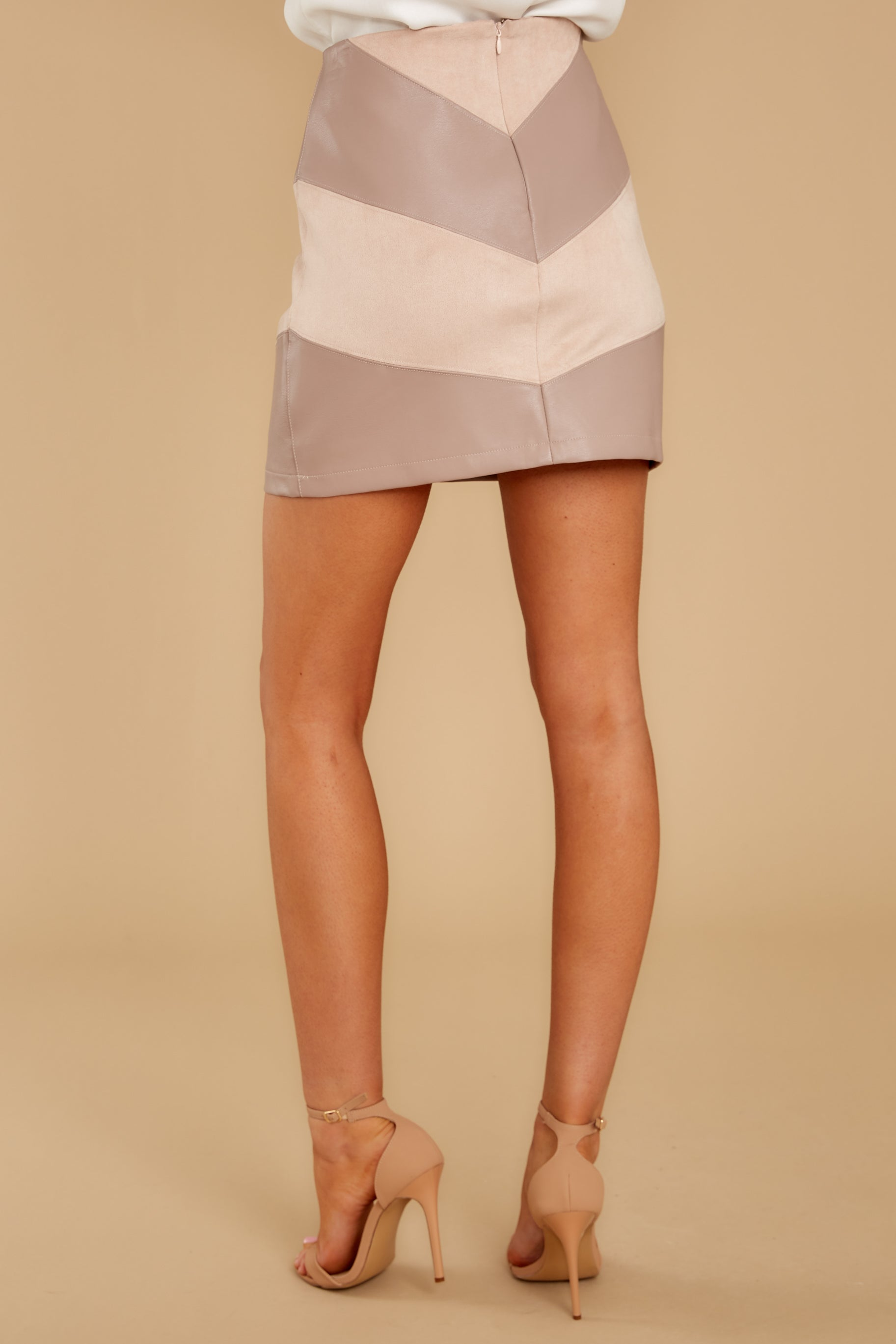 8 For The Gram Taupe Vegan Leather Skirt at reddressboutique.com