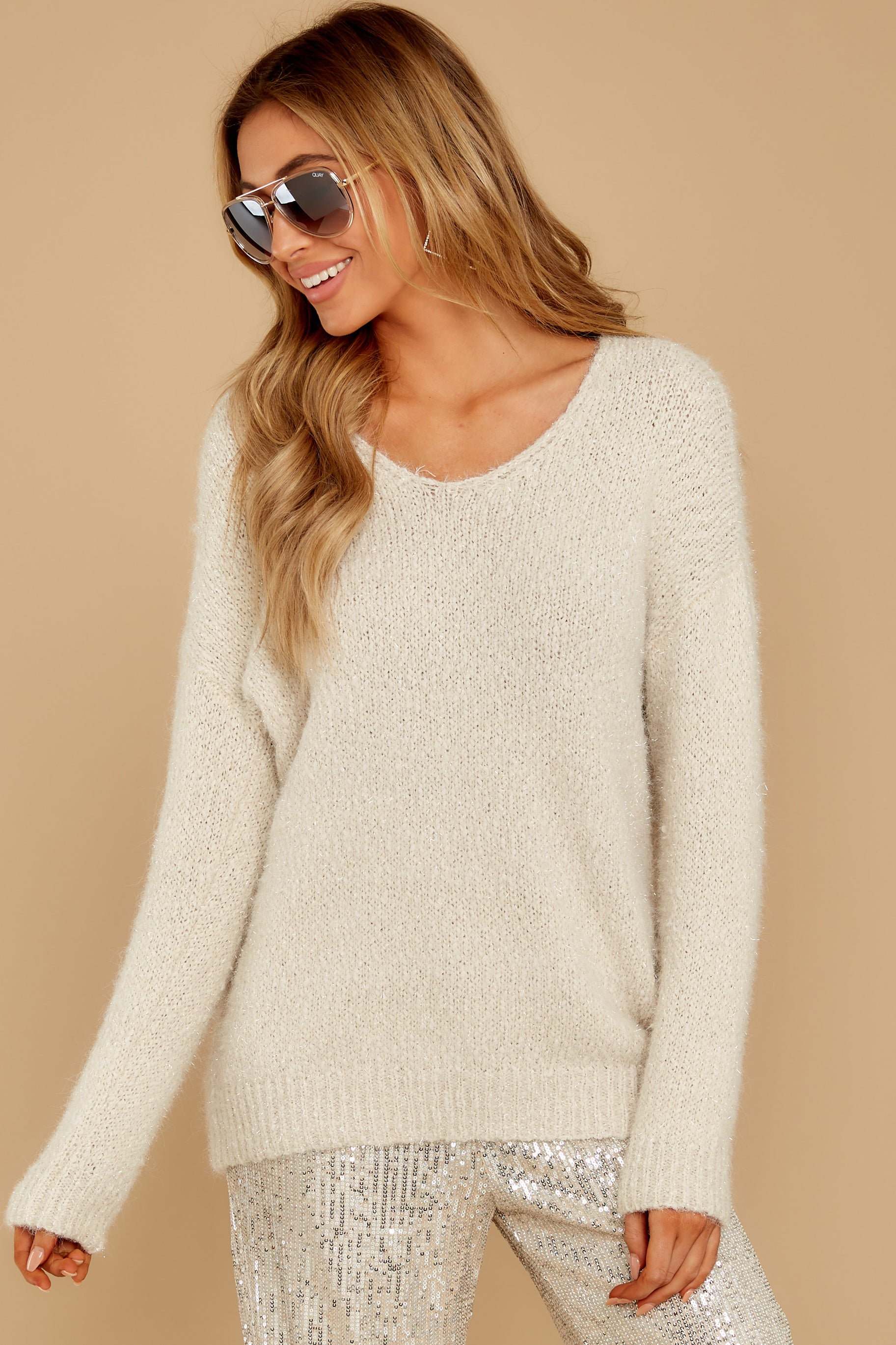 6 Come To Pass Cream Sweater at reddressboutique.com