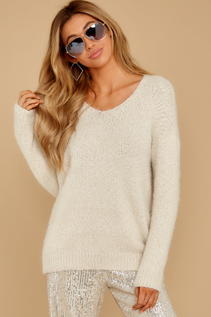 1 Set The Tone Beige And Ivory Cowl Neck Sweater at reddress.com